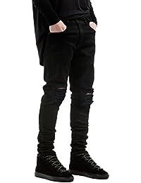 Men's Slim Fit Black Stretch Destroyed Ripped Skinny Denim Jeans