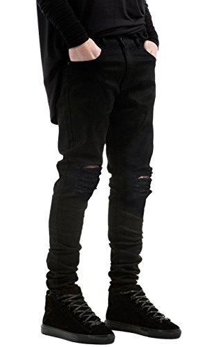 HANIOCAL Men's Slim Fit Black Stretch Destroyed Ripped Skinny Denim Jeans W34×32L