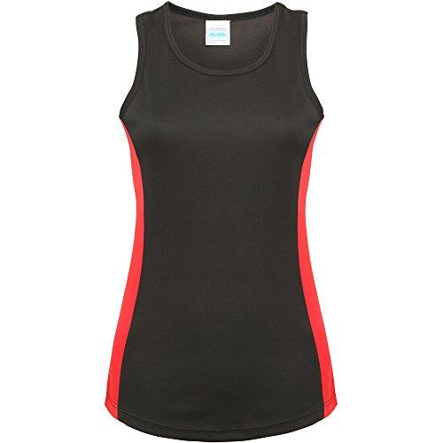 Awdis Cool Ladies Girlie Cool Contrast Vest Jet Black/ Fire Red