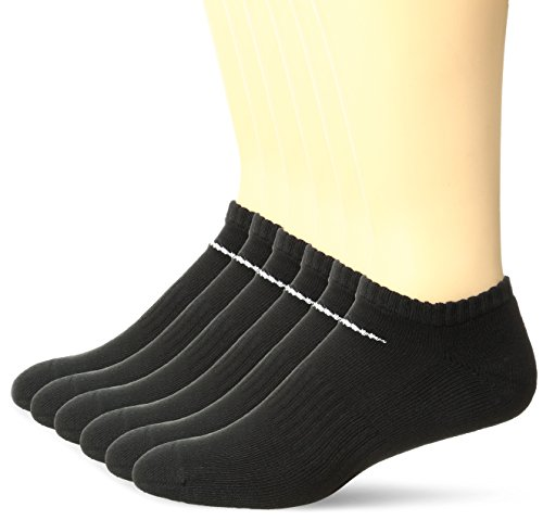 NIKE Unisex Performance Cushion No-Show Socks with Bag (6 Pairs), Black/White, Large (Nike No Socks Show)