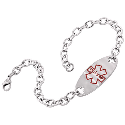 Surgical Stainless Steel Medical Alert Bracelet 9/16 inch Wide, up to 9 inch Long