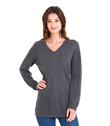 WoolOvers Womens Cashmere Merino Relaxed V Neck Knitted Tunic Charcoal, (Merino V-neck Jumper)