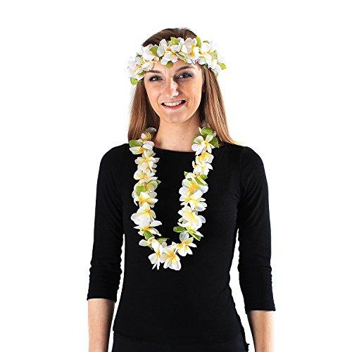 Hawaii Luau Party Artificial Fabric Princess Lei and Head Band Haku Set White with Yellow Heart ()
