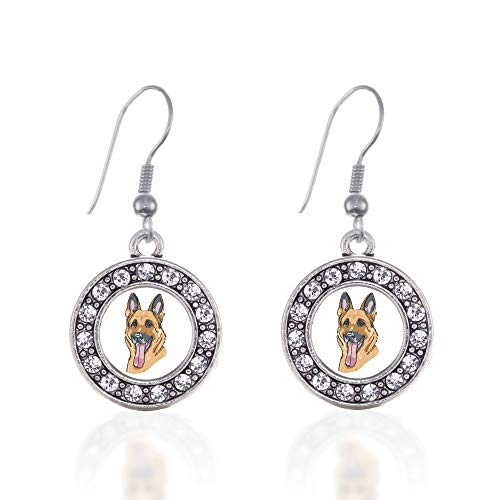 (Inspired Silver - The German Shepherd Charm Earrings for Women - Silver Circle Charm French Hook Drop Earrings with Cubic Zirconia Jewelry)