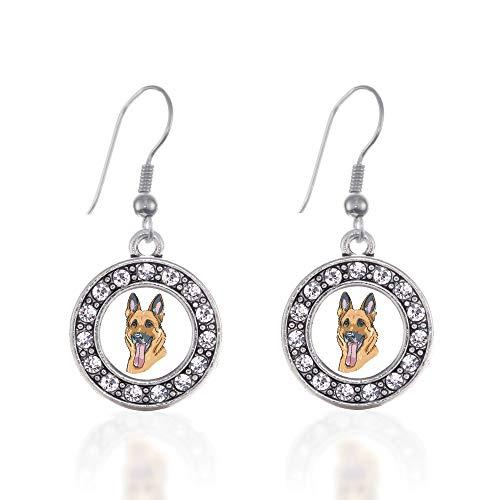 Shepherd Hook Earrings - Inspired Silver - The German Shepherd Charm Earrings for Women - Silver Circle Charm French Hook Drop Earrings with Cubic Zirconia Jewelry