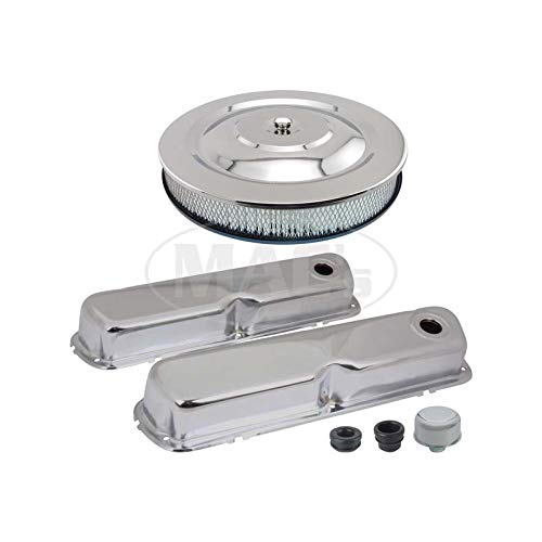 MACs Auto Parts 44-38832 Mustang Engine Dress-Up Kit - Chrome - 260 Or 289 Or 302 Or 351 Windsor V-8