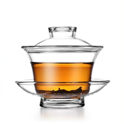 Moyishi Chinese Glass Gaiwan Traditional Tea Cup Comprised of Cup, Saucer and Lid Sancai wan