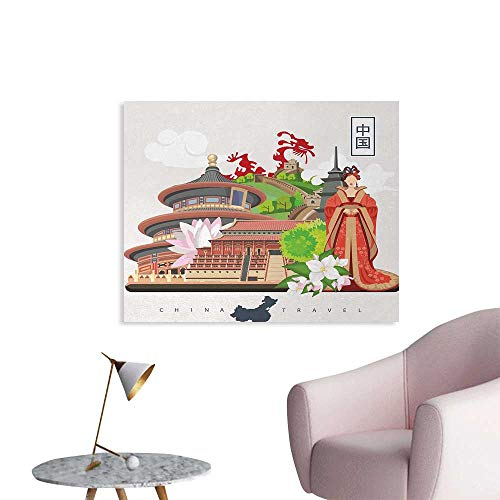 Tudouhoho Ancient China The Office Poster Vintage Style Chinese Attributes of Phoenix Dress Lotus Flower Dragon Palace Wall Paper Multicolor W36 xL24 (Fallout New Vegas Best Attributes)