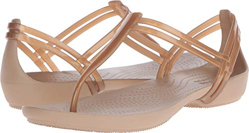 crocs Women's Isabella T-Strap Jelly Sandal, Bronze, 9 M US