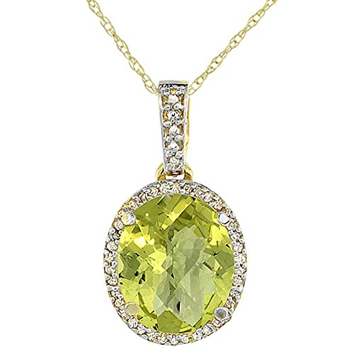 Jewellery World Bague en or jaune 9 carats Pendentif Quartz Citron Naturel ovale 11 x 9 mm et Accents de diamant