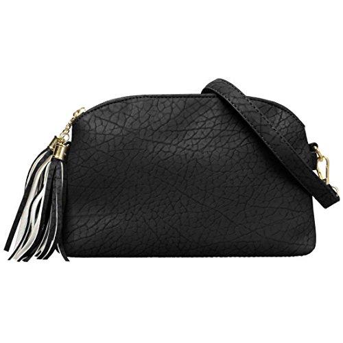 BMC Womens Charcoal Black Textured Faux Leather Multi Compartment Tassel Zipper Fashion Clutch Handbag