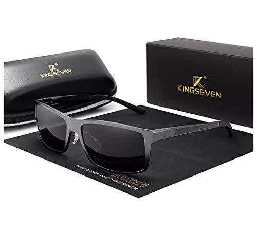 Genuine Kingseven adjustable sunglasses 2019 rectangular men polarized UV400 Ultra light Al-Mg (Gun/Gray)