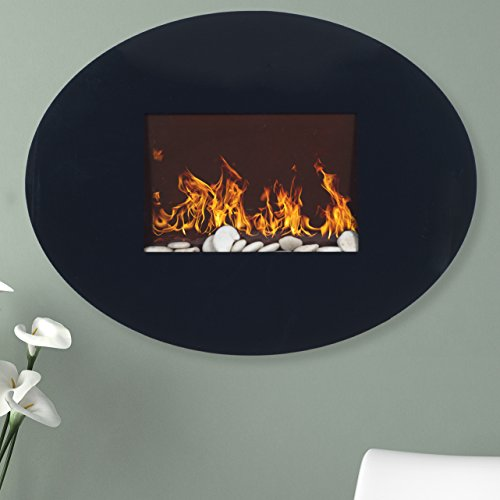 Cheap Oval Wall Mount Electric Fireplace with Remote control - Black Black Friday & Cyber Monday 2019