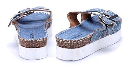 47b20773aa8fd8 Schuhtempel24 Damen Schuhe Pantoletten Sandalen Sandaletten Flach Schnalle  Blau ...