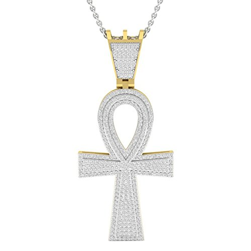 Dazzlingrock Collection 0.95 Carat (ctw) 10K Round Diamond Ankh Mens Cross Pendant 1 CT (Silver Chain Included), Yellow Gold