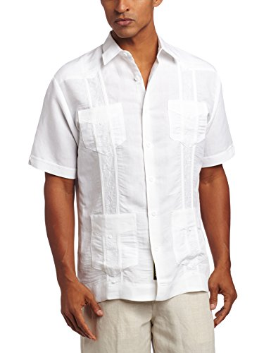 Cubavera Men's Short Sleeve Embroidered Guayabera, Bright White, Medium