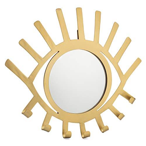 Kimisty Boho Wall Hanging Eye Shaped Gold Mirror with Jewelry Holder, Modern Decorative Necklace Hanger, Third Eye Makeup Mirror and Boho Jewelry Organizer Decor -