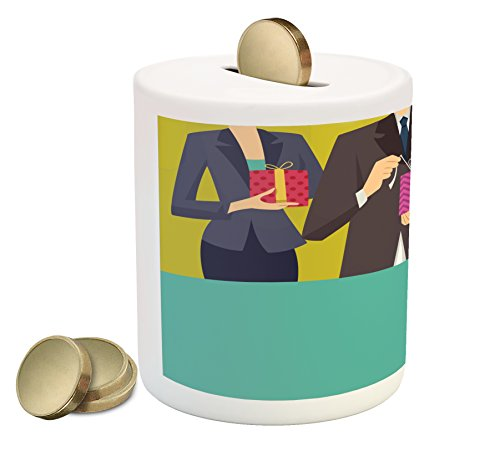 Lunarable Cartoon Coin Box Bank, People in Suits with Ornamental Boxes and Balloon Office Party Themed Sketch Design, Printed Ceramic Coin Bank Money Box for Cash Saving, Multicolor by Lunarable
