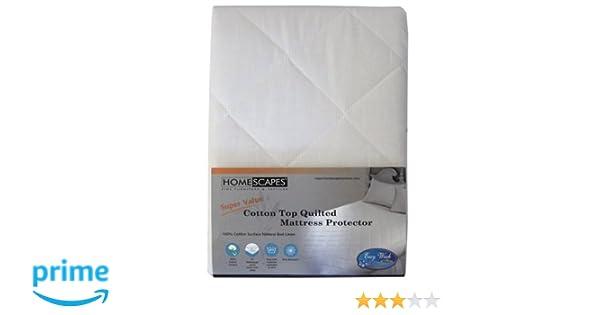 Homescapes Protector de colchón en Poliéster y Algodón de Lujo antiacaros y Hipoalergénico de 180 x 200 cm color blanco: Amazon.es: Hogar
