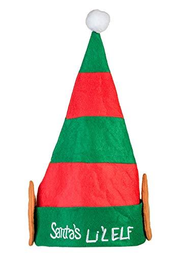 MA ONLINE Children Kids Fancy Christmas Party Wear Plush Santa Lil Elf Hat Xmas Accessory One Size
