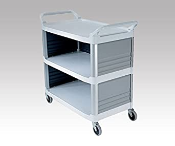 Rubbermaid Commercial 4093 37 13//16x40 5//8x20 inch 300lb 3 Shelve HDPE Service Cart with End Panels Black