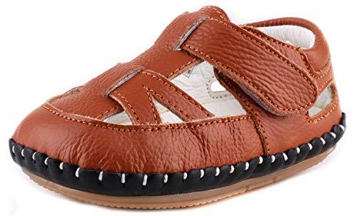 LONSOEN Baby Boys Girls Genuine Leather Sandals Summer Outdoor Pre-Walker Water Shoes(Infant/Toddler) KSD010 Brown CN17 ()