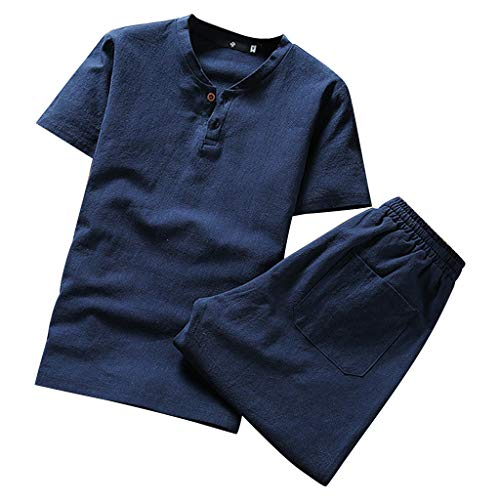 (Linen Sets for Men Kstare Mens Suit Summer Short Sleeve Comfy Soft Blouse T-Shirt Top Shorts Pants Set Sportwear Navy)