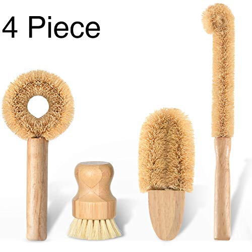 Subekyu Kitchen Scrub Brush Set of 4,  All Natural Cleaning Brushes for Dish/Bottle/Vegetable/Pan/Pot, Scrubber with Bamboo Handle and Coconut Fibers Bristles
