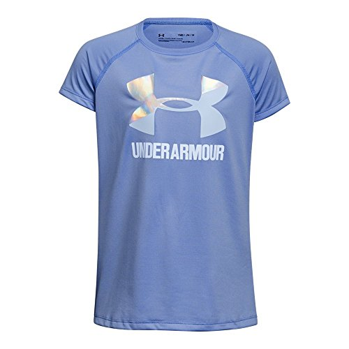 Short Sleeve Logo Raglan T-shirt - Under Armour Girls' Solid Big Logo Short Sleeve T-Shirt, Talc Blue/Oxford Blue, Youth Medium