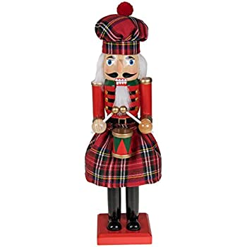 clever creations traditional scottish wooden nutcracker decoration red and green plaid nutcracker with drum premium