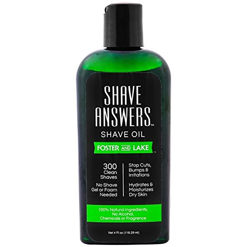 Foster and Lake SHAVE ANSWERS Shaving Oil, Pre Shave Oil for Smooth Shave, 4 fl ozs, Natural and Unscented (Shave Pre Solution)