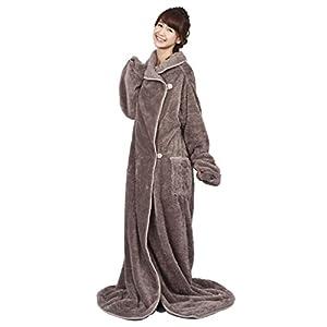 着る毛布 fu-mo PREMIUM (フーモ プレミアム) グレー  マイクロファイバー製洗える袖付ブランケット さらにゆったり
