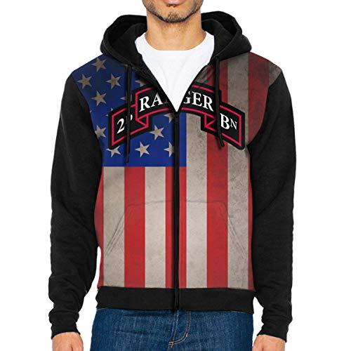 (NVTYGH HOODIE 2nd Ranger Battalion Full Zip Sweatshirt Drawstring Hoodies with Pockets)
