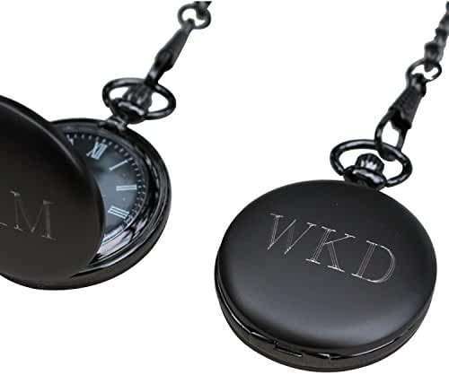 Personalized Gunmetal Quartz Pocket Watch with Chain - Groomsmen Wedding Party Gifts - Engraved for Free