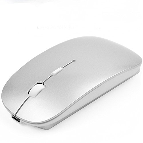 - Rechargeable Cute No Light Noiseless Wireless Optical Mouse, Ultrathin Slim Mute Portable Mouse, with USB Receiver and 3 Adjustable DPI Levels, Compatible with Notebook, Laptop and MacBook. (Silver)