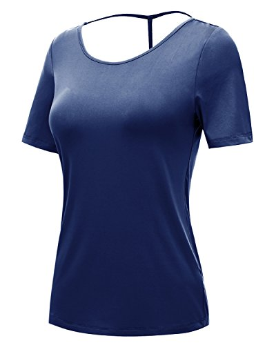 (REGNA X NO BOTHER Women's Crew Neck Cotton Jersey Spandex Short Sleeve Tshirt,17401_navy,Medium)