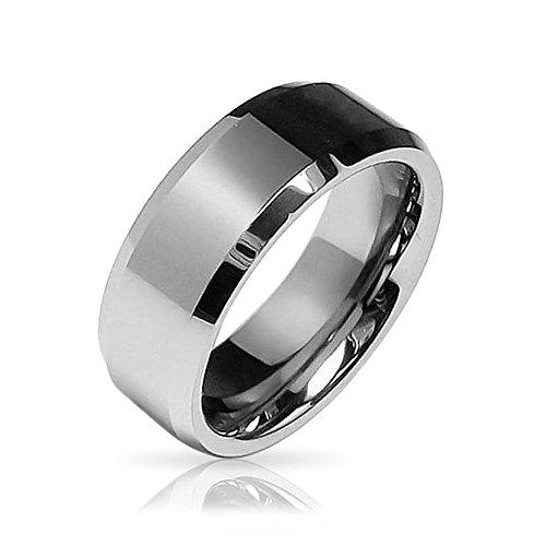 bling jewelry beveled edge center comfort fit tungsten wedding band 8mm amazoncom - Tungsten Wedding Ring