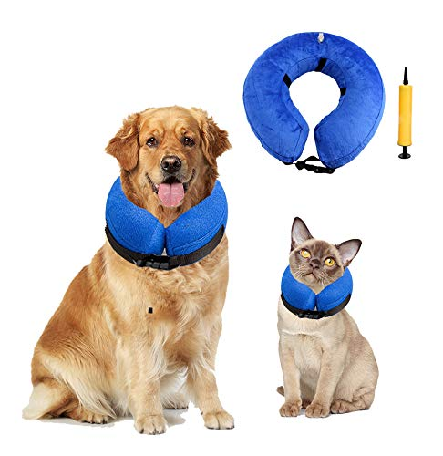 ROZU Protective Inflatable Collar Dogs Soft Cone Recovery Collar with Buckle for Dogs and Cats After Surgery - Medium (Blue) (Inflatable Cat Collar)