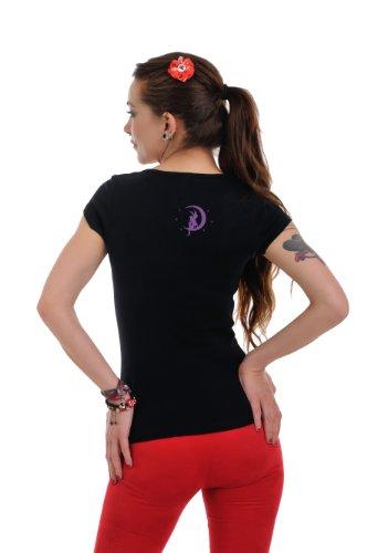 Morado Top hadas manga redondo Camiseta Negro 3elfen para Cuello mujer de Mujer con prenda corta de Moon Camisa 5w00x71nqT