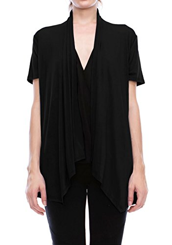 J Doe Style Short Sleeve Rayon Span Front Open Drape Cardigan (Size : S - 5X)