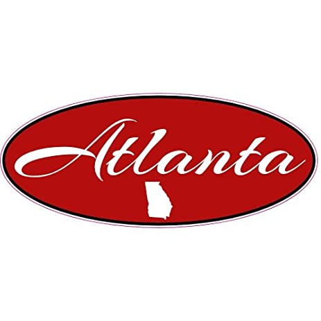 U s custom stickers atlanta red stretched oval decal 4
