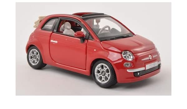 Amazon Com Fiat 500c Cabriolet Red Canopy Open Model Car Ready