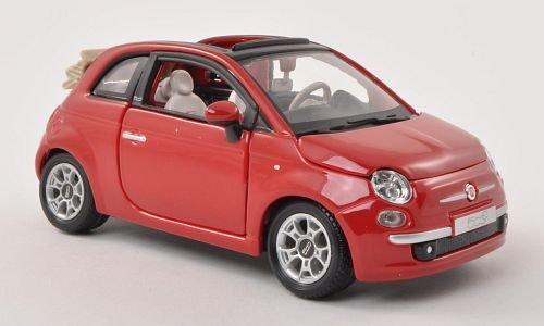 - Fiat 500C Cabriolet, red, canopy open , Model Car, Ready-made, Bburago 1:24