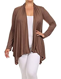Womens Plus Size Solid, Loose Fitting Style Cardigan MADE IN USA
