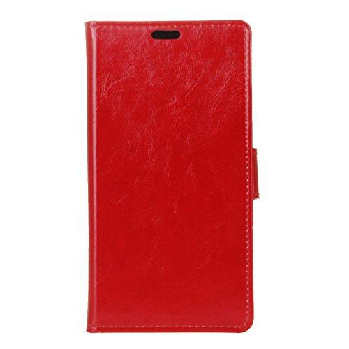 Lusee® PU Caso de cuero sintético Funda para Meizu MeiLan E2 5.5 Pulgada Cubierta con funda de silicona botón caballo Loco patrón Rosa caballo Loco patrón rojo