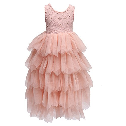 Flower Girls Tutu Lace Cake Dress Skirts Princess Birthday Party Dresses (Pink Beading, 8T)
