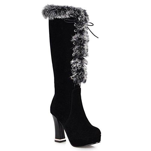 LongFengMa Women's High Heel Platform Fashion Knee Boots Black sAeE1YJ7e