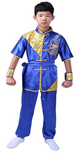 (CRB Fashion Mens Boys Childrens Kids Kung Fu Master Tai Chi Dragon Chinese Uniform Outfit Costume Top Shirt Pants Set (Height 100cm,)