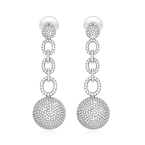 SHINCO Vintage 18k White Gold Plated Circle Link Drop Earring Dangles CZ Diamond Wedding Jewelry (Links Ring Sweetie)