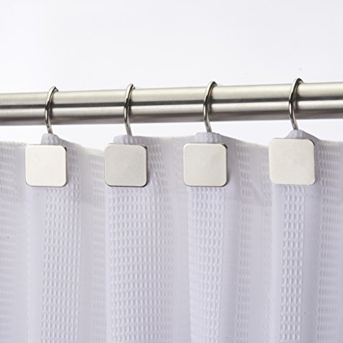 (Hermosa Collection Luxury Hotel Shower Curtain Hooks Square Modern Design Silver (12-pk.))